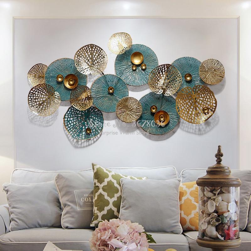 Creative Metal Wrought Iron Art Decorative Light Luxury Wall Deco Fashion 3D Living Room Sofa Background Wall Decoration