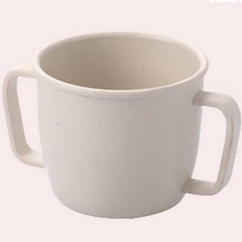 Taza de agua ambiental, Pajita de trigo, desayuno para niños, taza de bebida de leche ecológica de doble asa para bebé