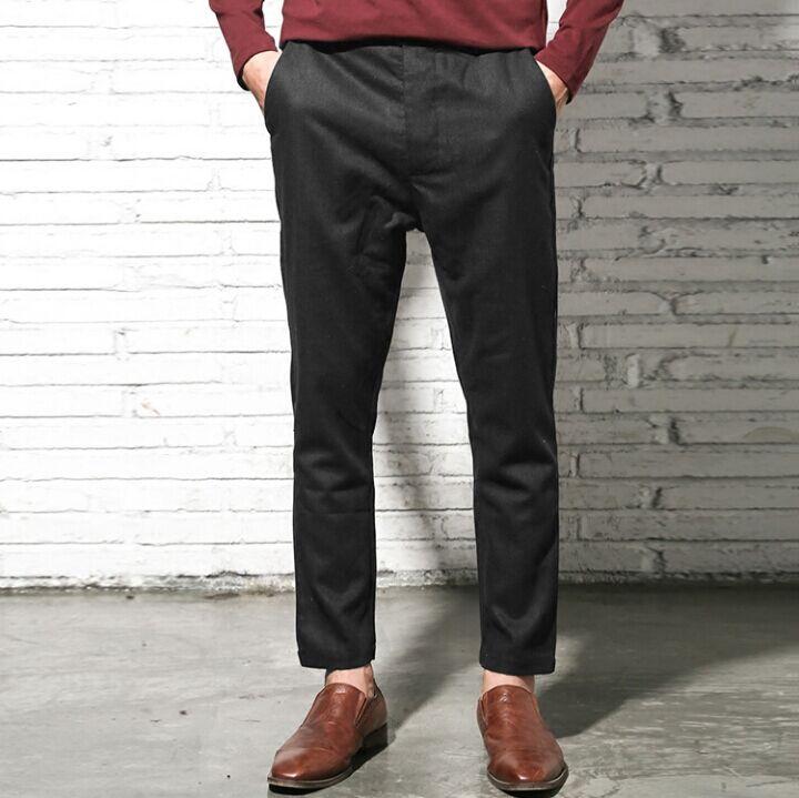 Autumn Winter Fashion Woolen High Quality Men Pants Brand Straight Mid-Rise Long Wool Casual Men Trousers Pants Hombre K674