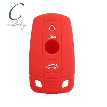 Cocolockey Silicone Car Key Case Cover for BMW E90 E91 E92 E60 E70 E87 1 3 5 6 Series M3 M5 X1 X5 X6 3 Buttons key jacket image