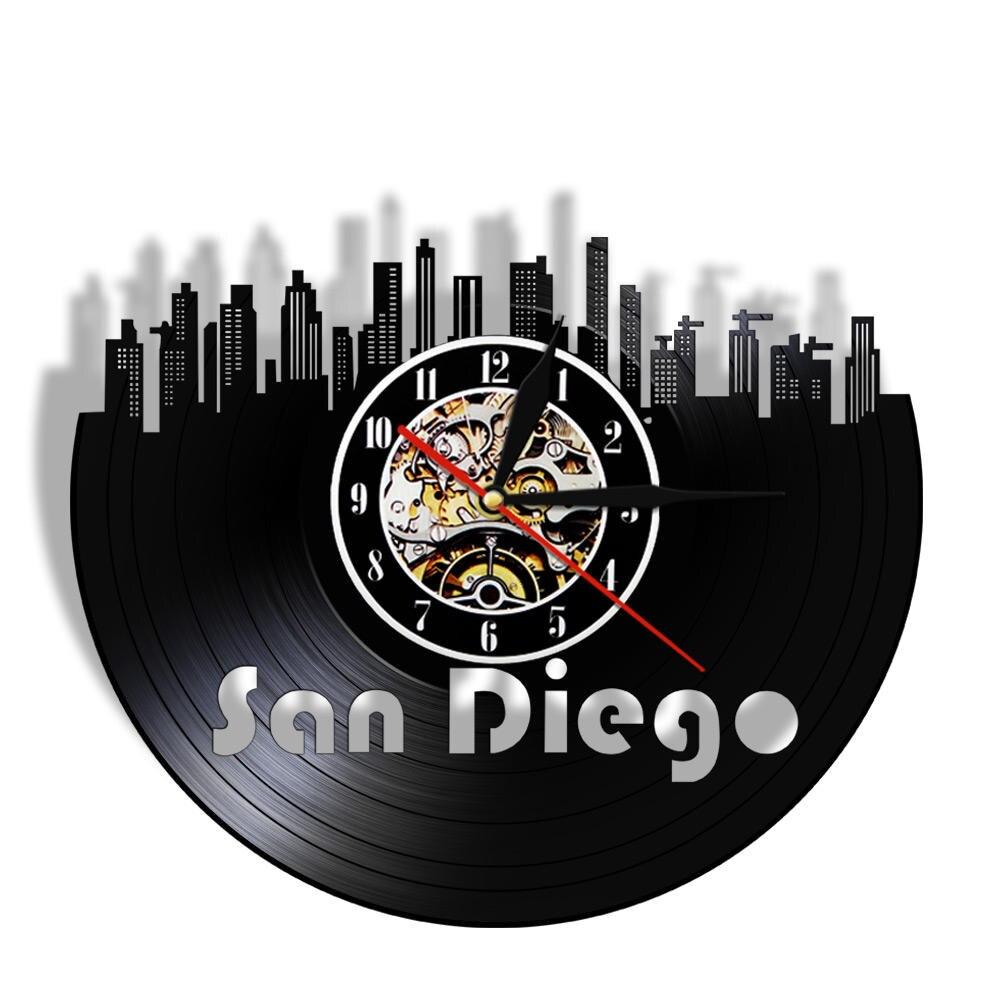 San Diego Cityscape Port City Of California USA Vinyl Record Wall Clock Modern Skyline Handmade Vintage Decorative Wall Watch