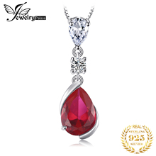 JewelryPalace 3ct Created Ruby Pendant Necklace 925 Sterling Silver Gemstones Choker Statement Women Without Chain