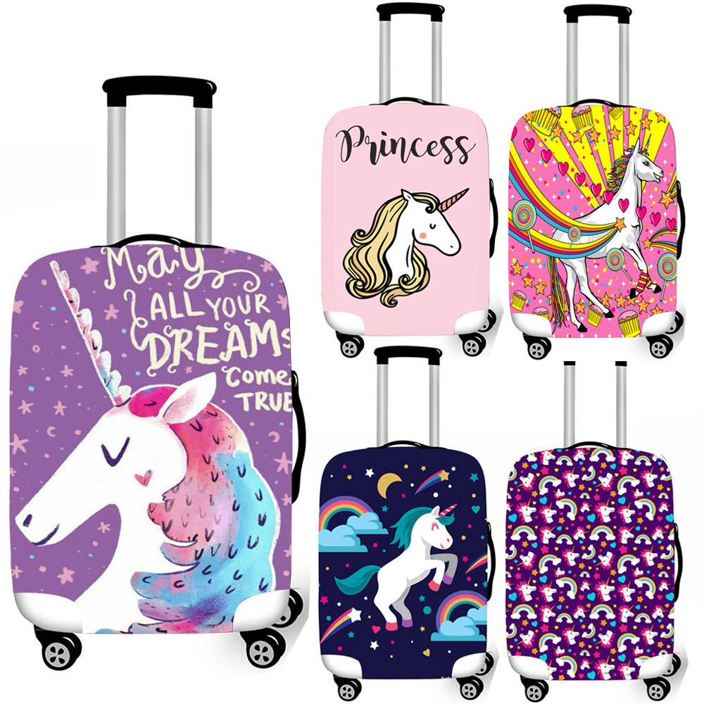 Unicorn With Purple Dreams Travel Suitcase Protector Zipper Suitcase Cover Elastic