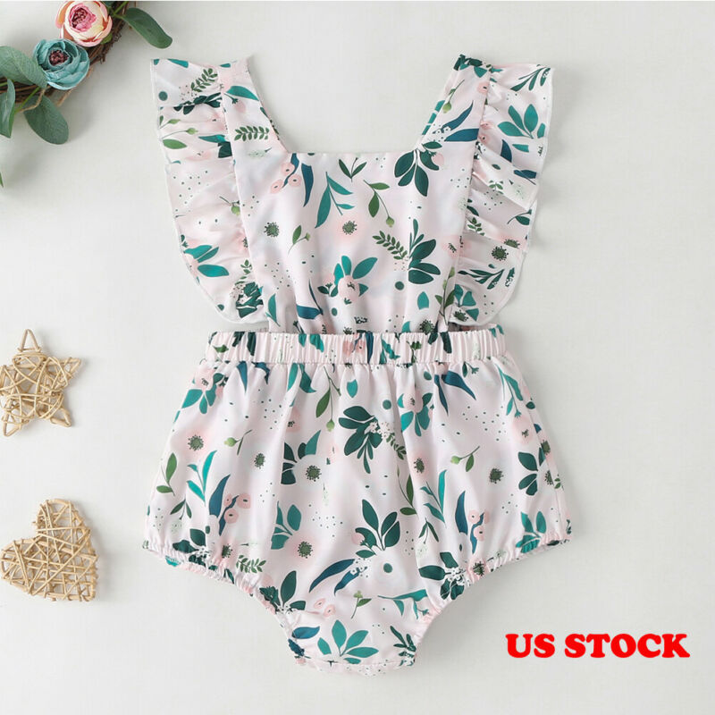 2Pcs Newborn Baby Girls Floral Romper Bodysuit Jumpsuit Playsuit Clothes Outfits