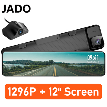 цена на JADO Driving Recorder 1296P Car Dvr Camera 12 Inch 360 Camera Full HD Night Vision Dash Cam Front And Rear Vehicle Camera Mirror