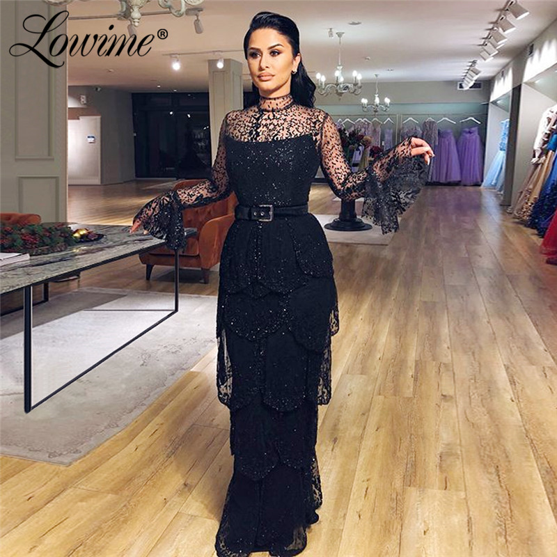 Illusion Black Glitter   Evening     Dresses   Tiered Prom   Dress   Custom Full Sleeves Formal Arabic Dubai Middle East Women Party Gowns