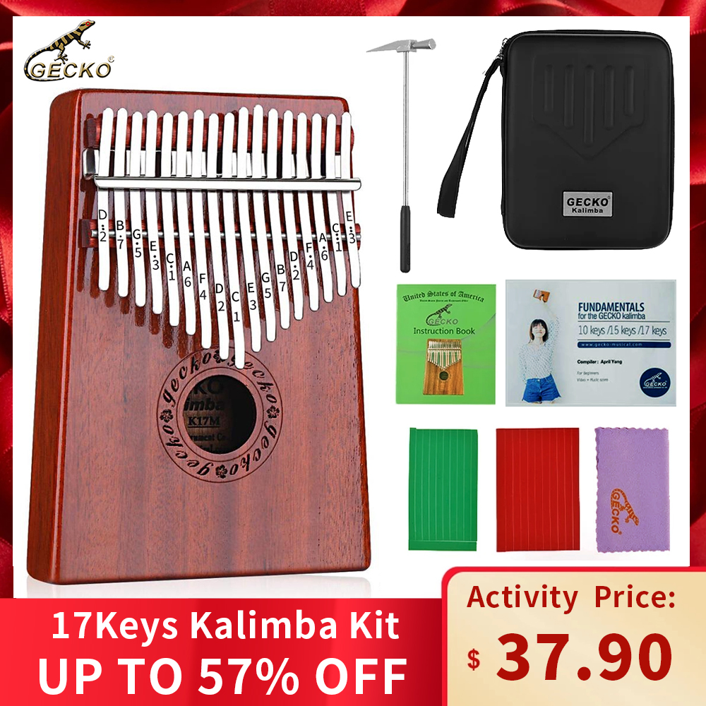 GECKO Kalimba 17-Key Thumb Piano Has A Built-in EVA High-performance Protective Box, Hammer And Learning Instructions.  Mahogany