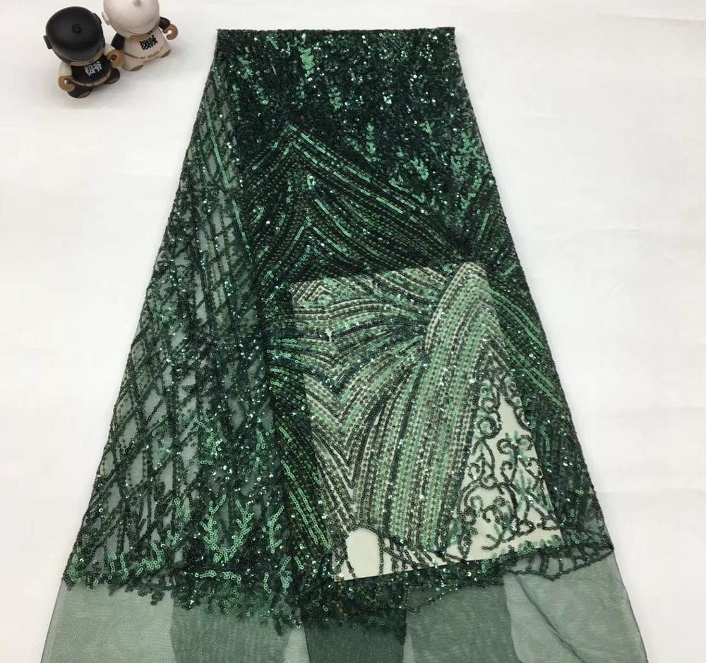Sequins Lace Fabric Nigerian French Lace Fabric Embroidered African Lace Fabric High Quality Sequins Mesh Lace TS9086