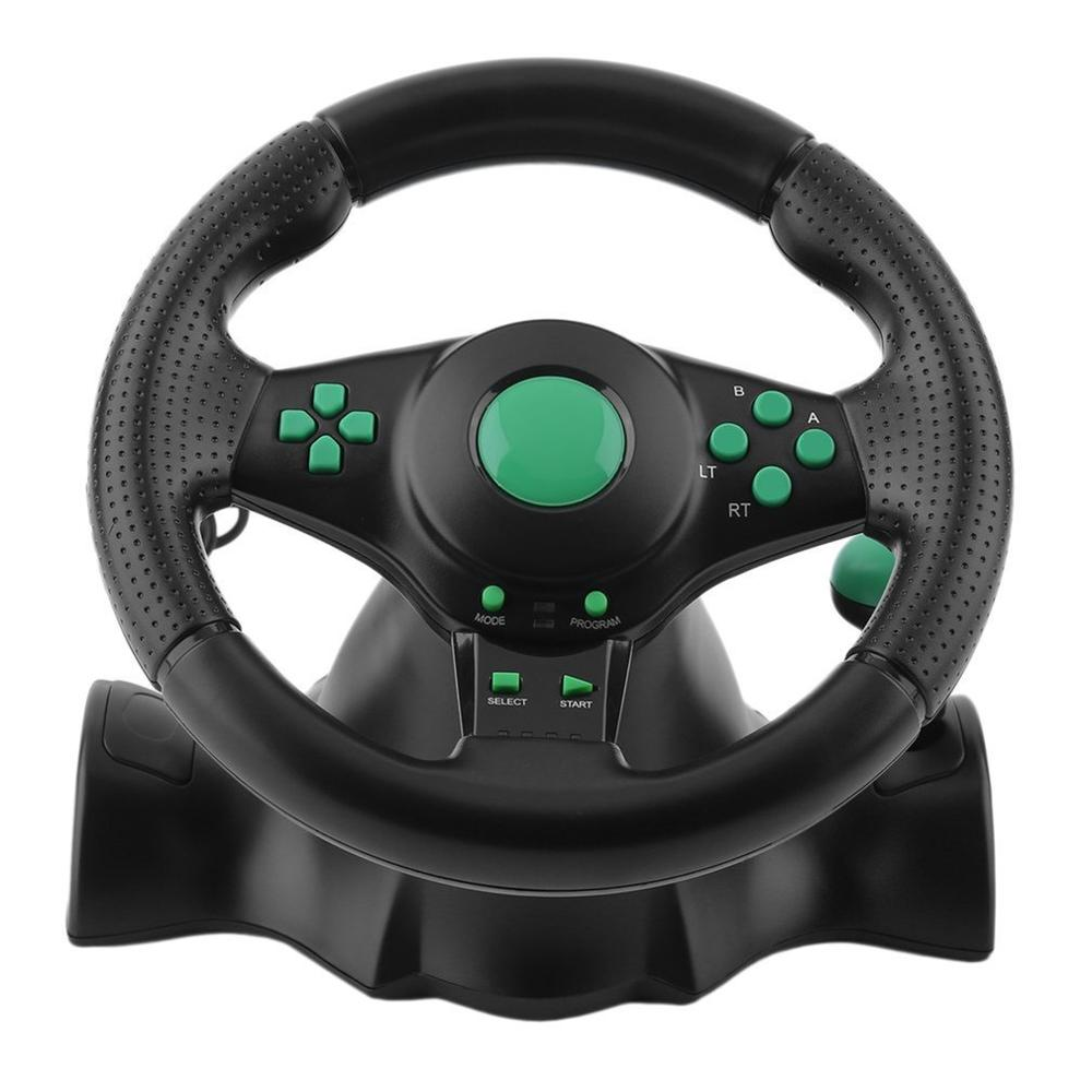 Racing Game Steering Wheel For XBOX 360 PS2 For PS3 Computer USB Car Steering-Wheel 180 Degree Rotation Vibration With Pedals image