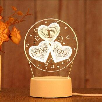 Cross-border popular style USB lamp 3 d acrylic night creative table gift