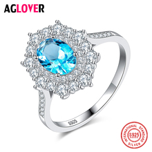 AGLOVER Authentic 925 Sterling Silver Ring Blue Zircon Fashion For Woman Wedding Jewelry Charm Flower Ring Couple Gift