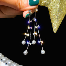 925 Silver Needle Long Fringed Bow Flash Pearl Earrings Feminine Korean Personality Fashion