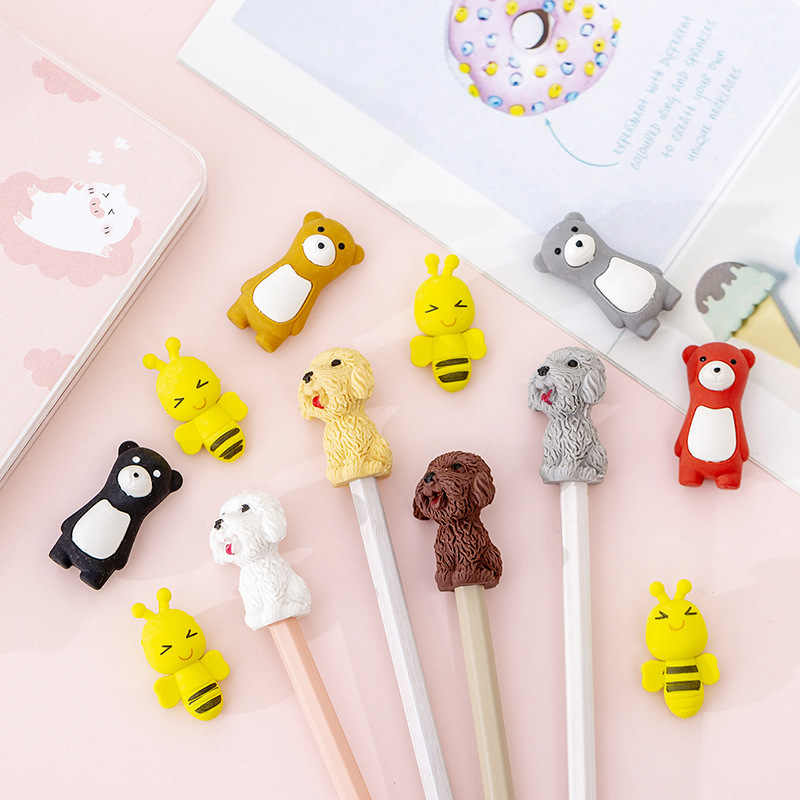 1pcs Kawaii Animal Dos Desenhos Animados Do Gato Do Cão Urso Abelha Bonito Pequeno Mini Lápis Eraser for Kids Presente Da Escola Animal do Kawaii eliminador de borracha