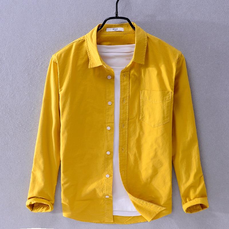 2019 New Arrival Suehaiwe's Brand Long Sleeve Shirt Men Fashion Yellow Shirts For Men Casual Seasons Shirt Male Camiseta