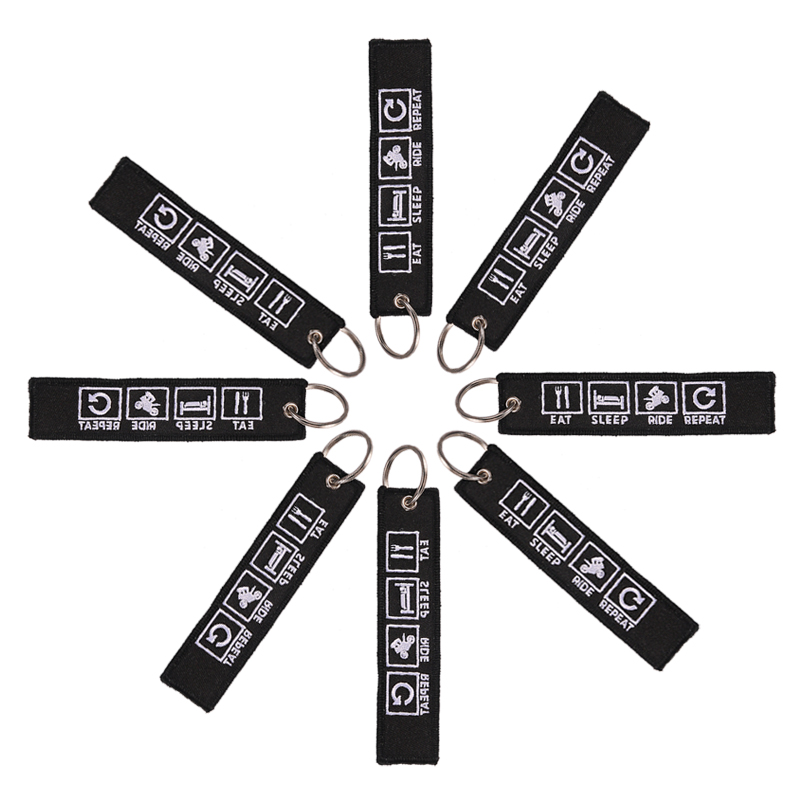 5 PCS/LOT Key Tag Eat Sleep Rid Repeat Porte Clef Embroidery Key Chain Bijoux Keychain For Motorcycles N Cars Key Chain For Men