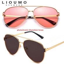 מותג עיצוב שינוי צבע תעופה משקפי שמש גברים מקוטב Photochromic בטיחות נהיגה משקפיים נשים משקפי שמש נגד בוהק UV400