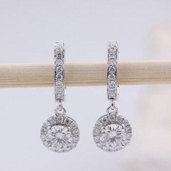 Fashion 18K White Gold Women 1ct total Round White Moissanite stone Diamond Drop Earrings Jewelry for Women 1