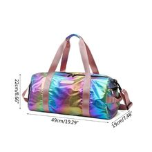 Holographic Sport Gyms Bag with Shoes Compartment for Women Travel Duffel Shoulder Handbag Luggage Lightweight Tote