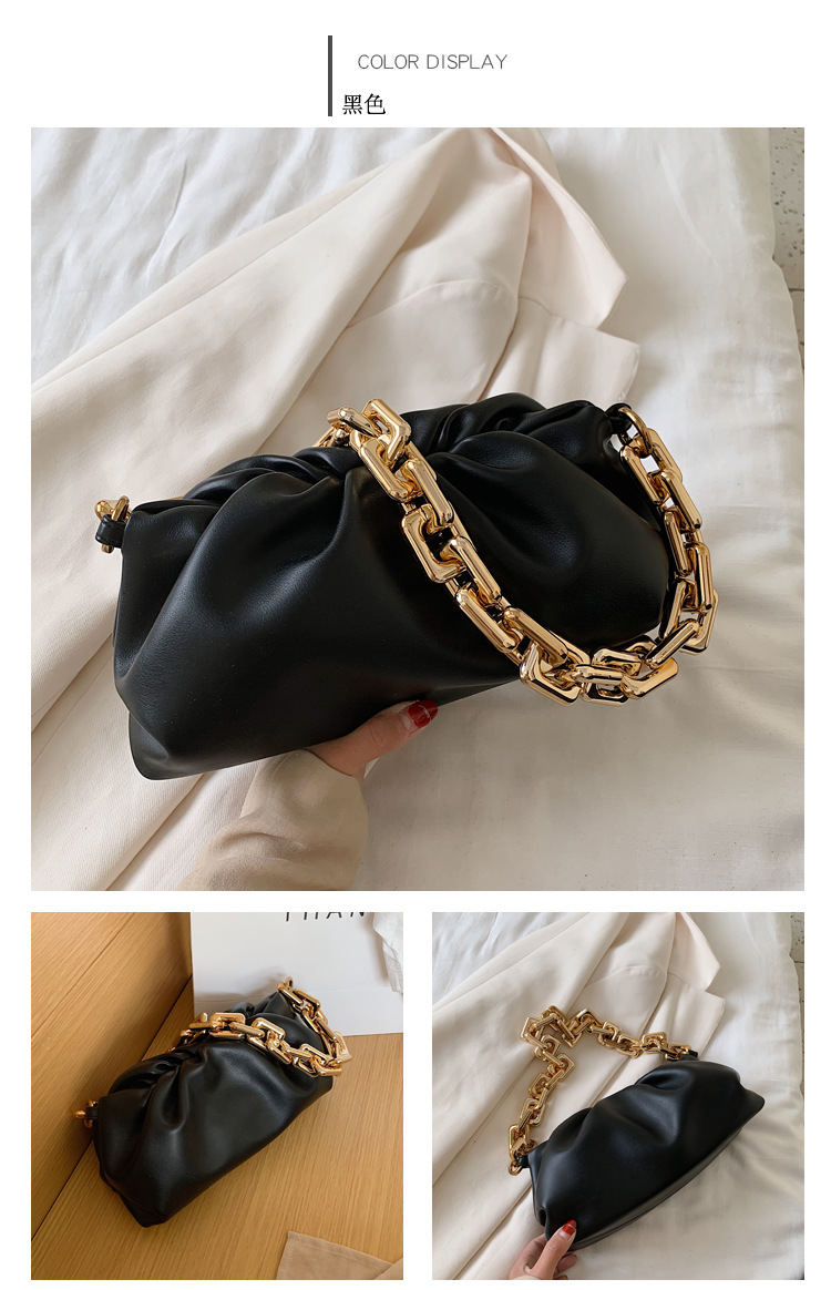 Women Luxury Designer Cloud Clutch Bag 2020 Hot New Trendy Fashion Ladies Thick Chain Shoulder Bag Soft PU Women Handbag Tote