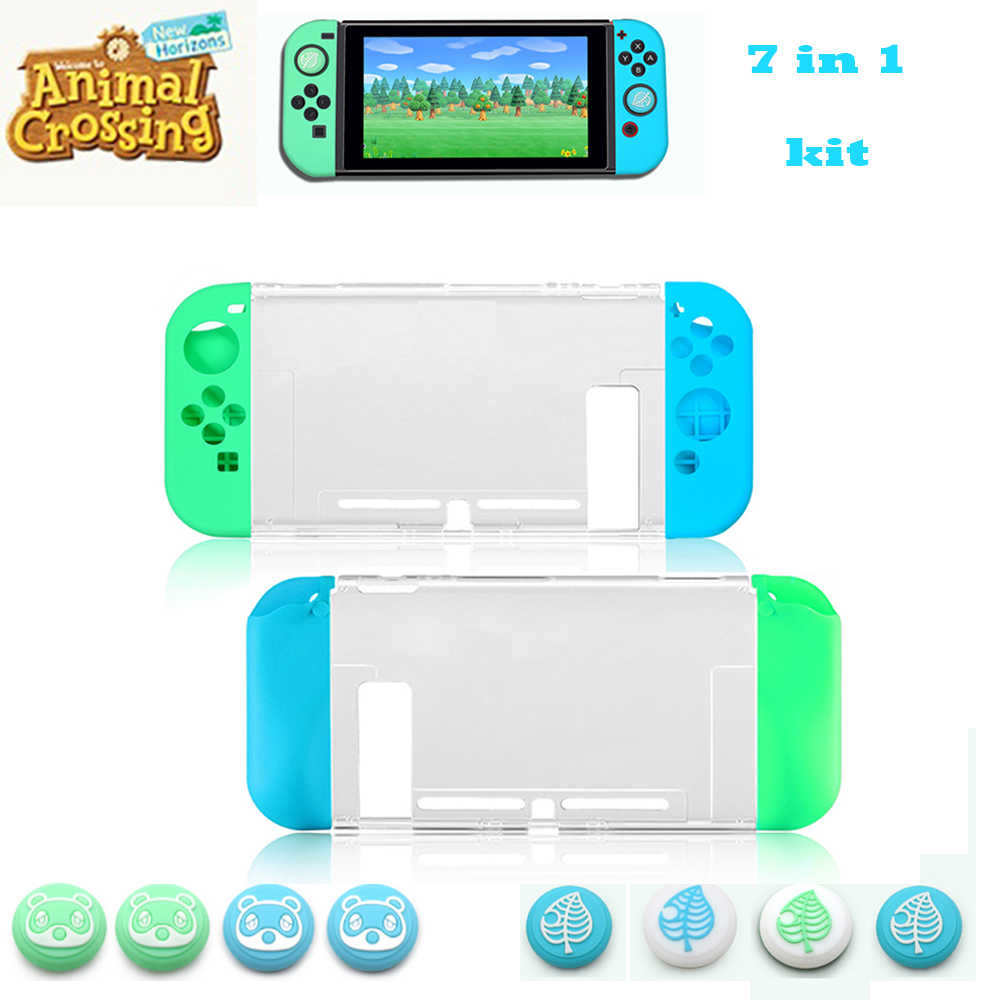 Animal Crossing Nintend Switch Perlindungan Kit Bening NS Kasus Shell + 4 Pcs Thumb Stick Grips Joycon Topi + 2 pcs Joystick Kulit
