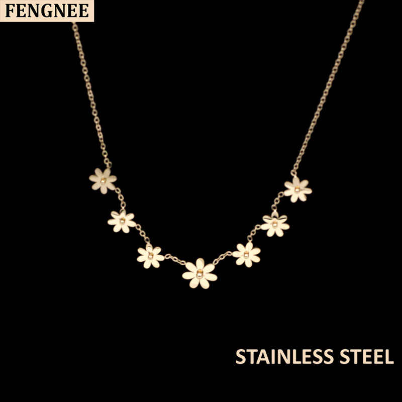 fengnee luxury vintage Stainless Steel Jewelry For Women Love Rose Gold Pendant daisy flower Necklace women