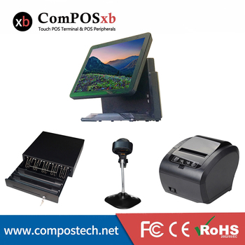 Optimal combination cash register machine 15 Inch touch screen 4G RAM 64 hard disk POS system with cash box /printer and scanner
