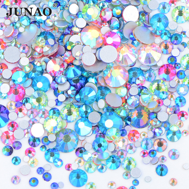JUNAO 1400 stücke Mix Größe Mix AB Farbe Kristall Flatback Glas Strass Aufkleber Nail art Dekoration Edelsteine Nicht Hot Fix strass Steinen