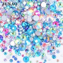 JUNAO – Strass en cristal, 1400 pièces, mélange de tailles, mélange de couleurs AB, verre plat, autocollant Nail Art, décoration, gemmes, pierres Non correctrices