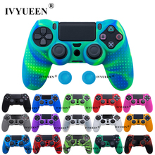 IVYUEEN Anti slip Silicone Cover Skin for Sony Dualshock 4 PS4 Pro Slim Controller Camo Case & Stick Grip for Play Station 4