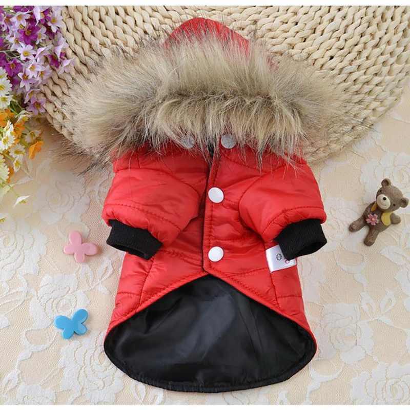 Hewan Peliharaan Kapas Musim Dingin Hangat Pakaian Anjing Kecil untuk Chihuahua Lembut Bulu Hood Anak Anjing Jaket Pakaian Pakaian Anjing 5 Ukuran Pet anjing Mantel
