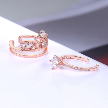 Fashion 925 Sterling Silver Rings Rose Gold Zircon Drill Hollow Crown Diamond Rings for Women Wedding Engagement Jewelry Gifts 3