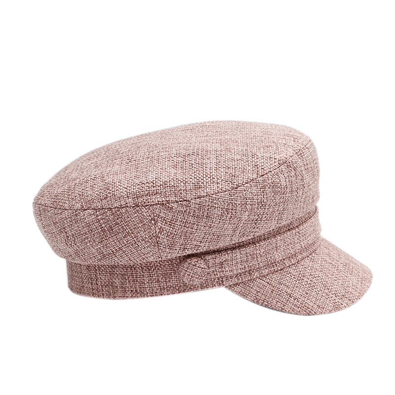 Ladies Military Hat Spring Autumn Breathable Cotton Linen Flat Top Hat Visor Casual Vintage Navy Hat Fashion Octagonal Hat