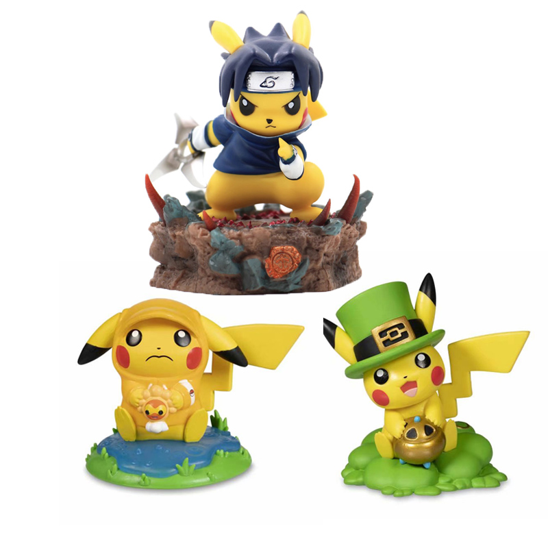 2019 New Lucky And Rainy Pikachu Cosplay Deadpool Batman Darth Vader Naruto Kakashi PVC Action Figure Doll Collection Model Toy