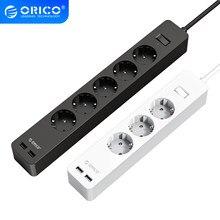 ORICO-regleta electrónica de 5AC para hogar y oficina, tomacorriente con 2 enchufes de extensión USB, enchufe europeo
