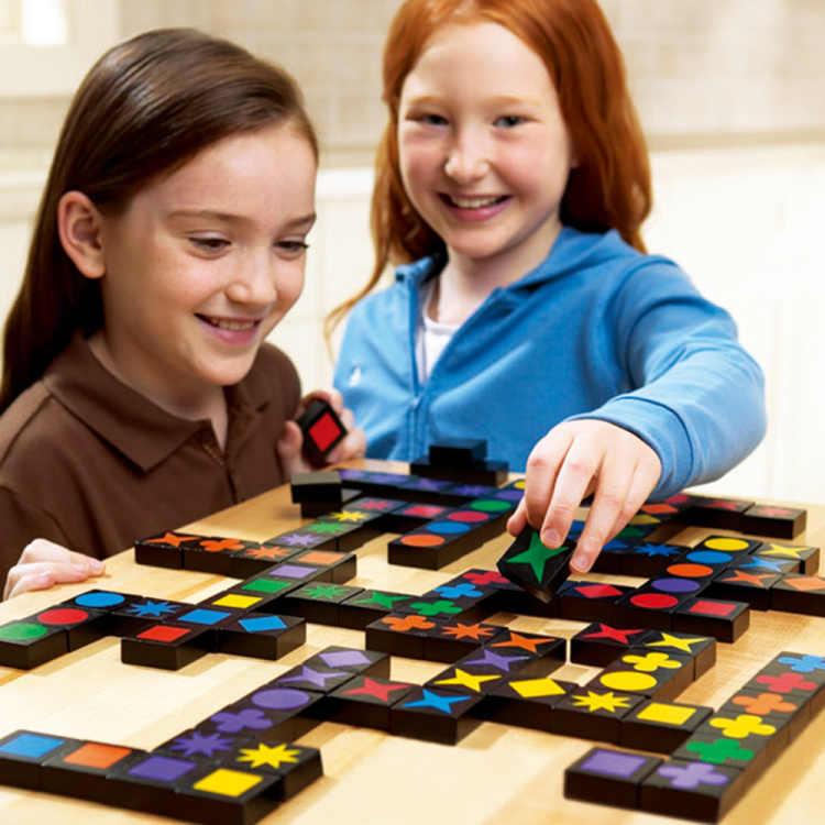 Qwirkle, juguetes interactivos, ajedrez educativo para niños, juegos de mesa, juego de mesa de madera para niños Qwirkle, juego de mesa de inteligencia para adultos