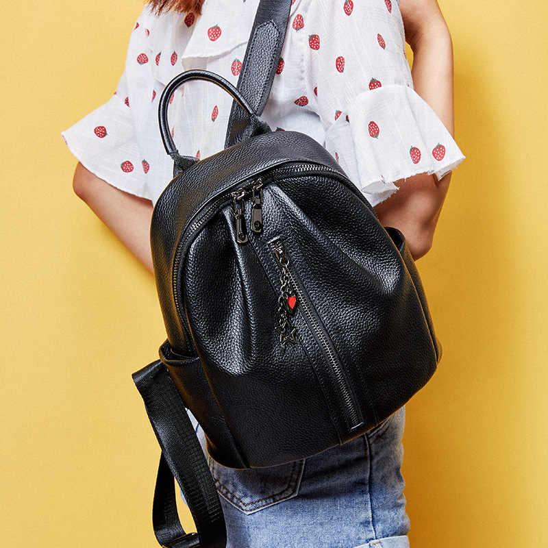 """""""100% עור אמיתי אופנה נשים תרמיל קלאסי שחור יומי מזדמן נסיעות תיק גדול קיבולת תרמיל ילקוט"""
