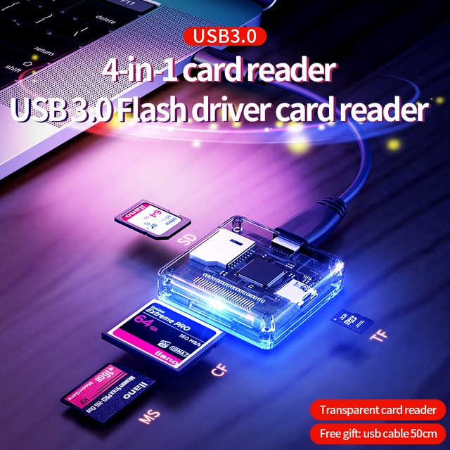 4 in 1 Multi USB 3.0 smart card reader flash multi memory card reader for USB3.0/SD/TF/MS/CF card reading micor SD flash card