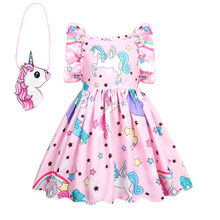 2019 summer Baby girl clothes unicorn dress kids dresses for Girls Halloween costume cosplay Party Vestidos Headband 36004
