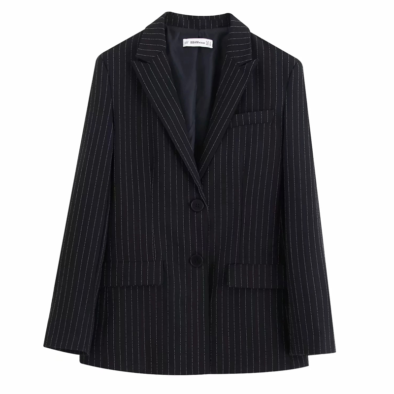 Casual Women's Striped Jacket 2019 New Single-breasted Black Striped Ladies Blazer Elegant Office Suit Autumn Women's Clothing