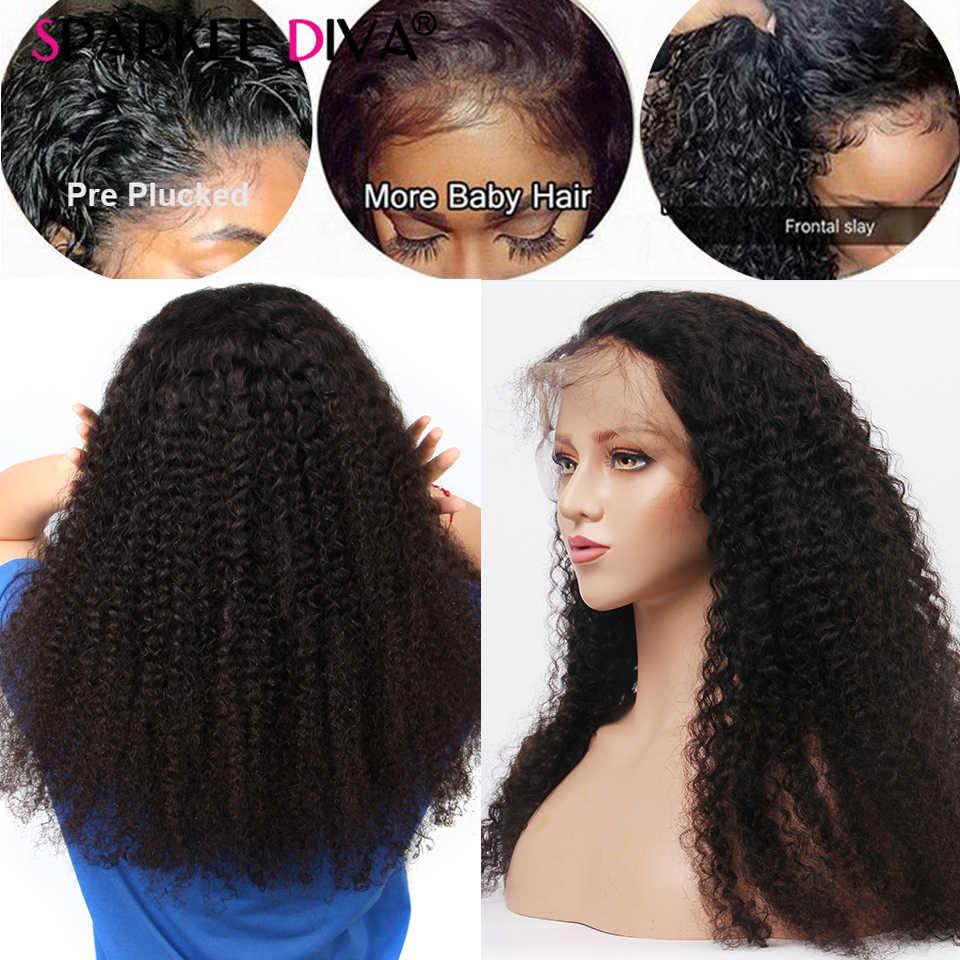 Peluca rizada brasileña del pelo humano para las mujeres negras pelucas frontales del pelo humano del cordón Remy 180 de la densidad 360 prearrancadas con el pelo del bebé