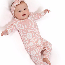2019 Fashion Baby Girl Clothes Newborn Kids Girls Flower Print Romper Jumpsuit+Headband Outfits Clothes Set цена и фото