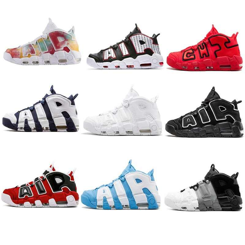 96 QS Olympic Varsity Maroon More Men Basketball Shoes 3M Scottie Pippen Uptempo Chicago Trainers Sports Designer Mens Sneakers