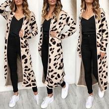 Womens Hot Long Sleeve Leopard Print Cardigan Open Front Jacket Coat Thin Autumn clothing