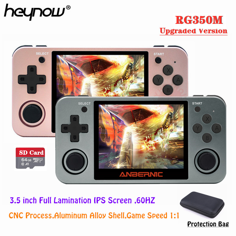 """Newest Full View 3.5"""" IPS Screen Linux OS RG350M Retro Game Console Aluminum Alloy Shell PS1 Arcade Emulators RG350 Game Player(China)"""
