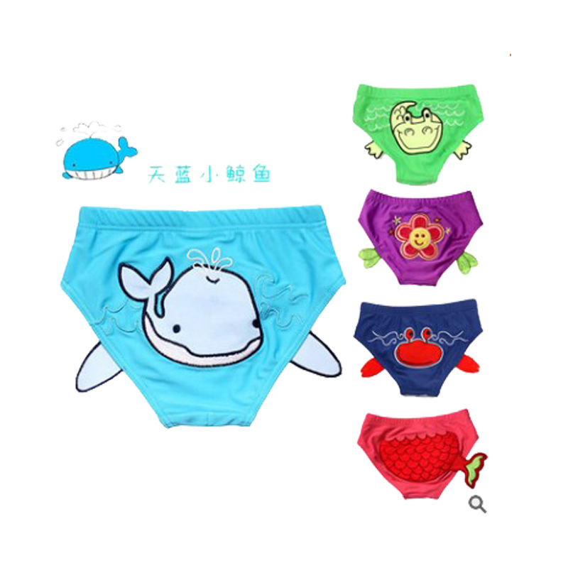 Infant Waterproof Swimming Trunks 0-3-Year-Old Men And Women Children Repeat Washable Swimming Trunks Cartoon Triangular Swimmin