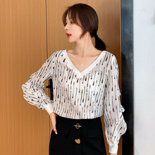 Camisas Mujer Autumn New V-collar Printing Long-sleeved Blouses Shirt Women Chiffon Blouse twotwinstyle Boho Woman Tops 938B7