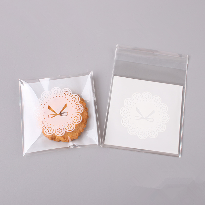100pcs Cookie Bags DIY Self-adhesive Candy Bags Ornaments for Home Y