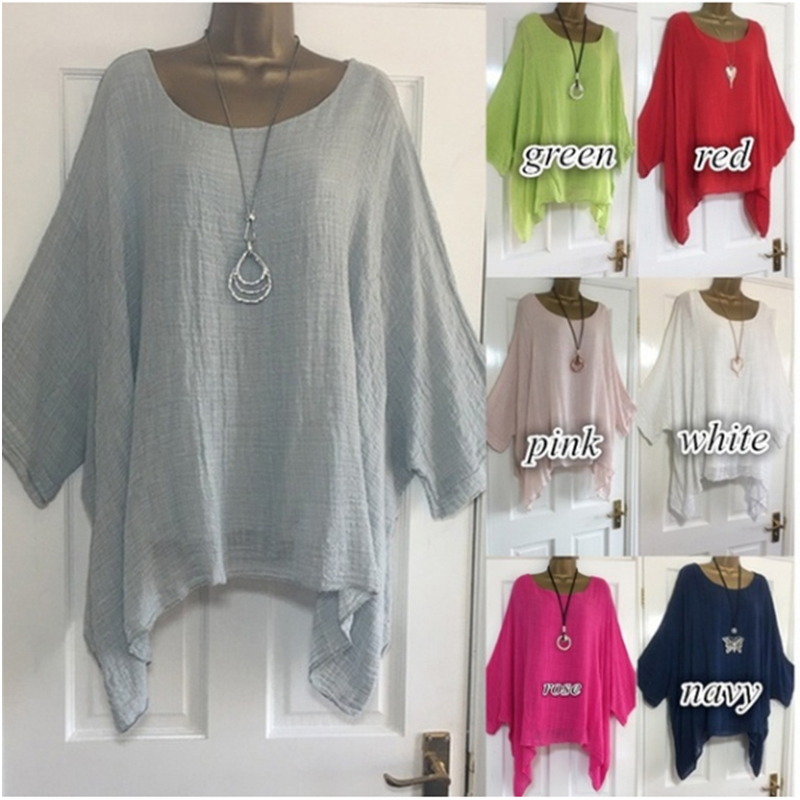 Solid Summer Blouses Batwing Sleeve 4XL 5XL Loose Plus Size Women Tunic Casual O-Neck Long Sleeve Blouse Anomalistic Tee Shirts(China)