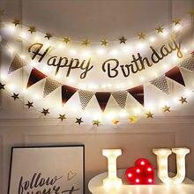 С Днем Рождения Розовое золото баннеры с 3 м светодиодный светильник вечерние украшения для девочек детский душ День Рождения вечерние Деко...