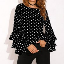 SHUJIN 패션 도트 프린트 플레어 슬리브 여성 Blusa o-Long 긴 소매 시폰 셔츠 Ladies Tops 한국어 화이트 블랙 블라우스 5XL